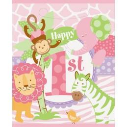 Girls Safari 1st Birthday Loot Bags (Pack of 8) | Girls Jungle 1st Birthday Party Supplies