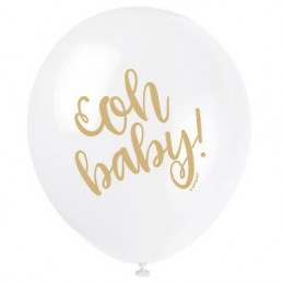 Oh Baby! Baby Shower Latex Balloons (Pack of 8)