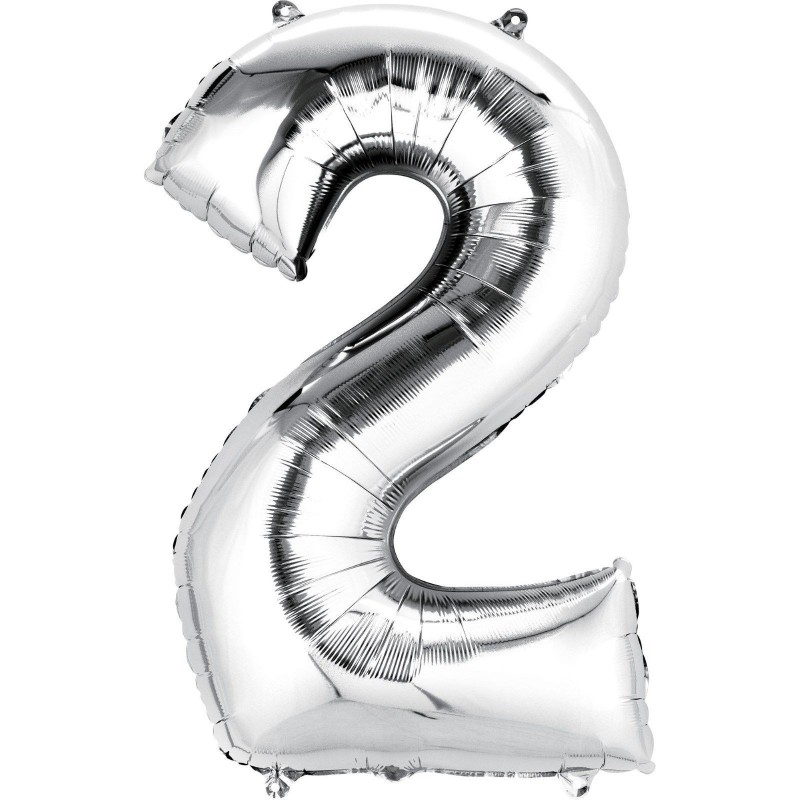 Silver Number 2 Balloon 86cm