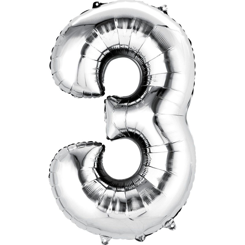 Silver Number 3 Balloon 86cm