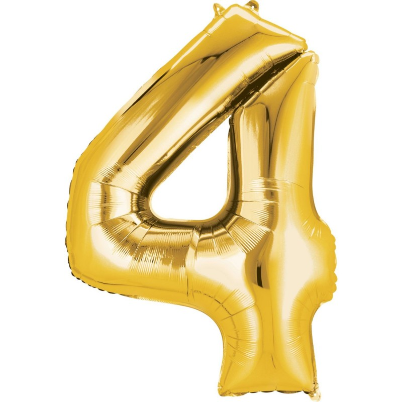 Gold Number 4 Balloon 86cm