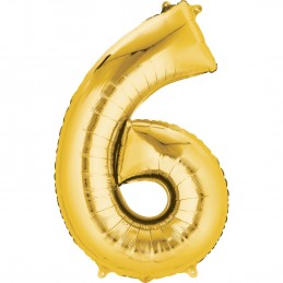 Gold Number 6 Balloon 86cm