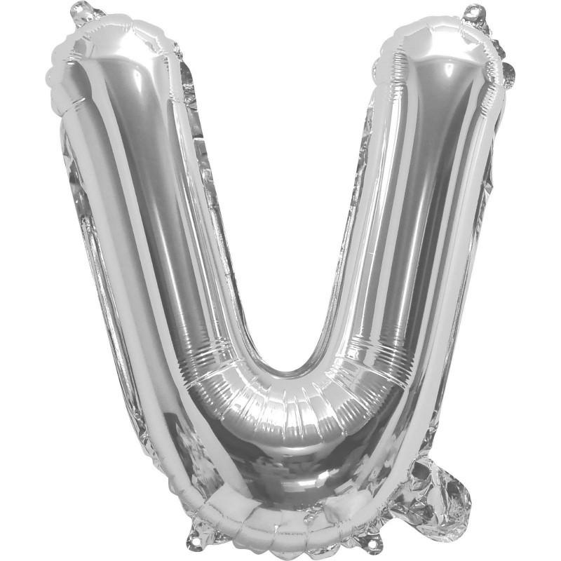 Silver Letter V Balloon 35cm