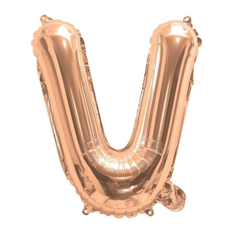 Rose Gold Letter V Balloon 35cm