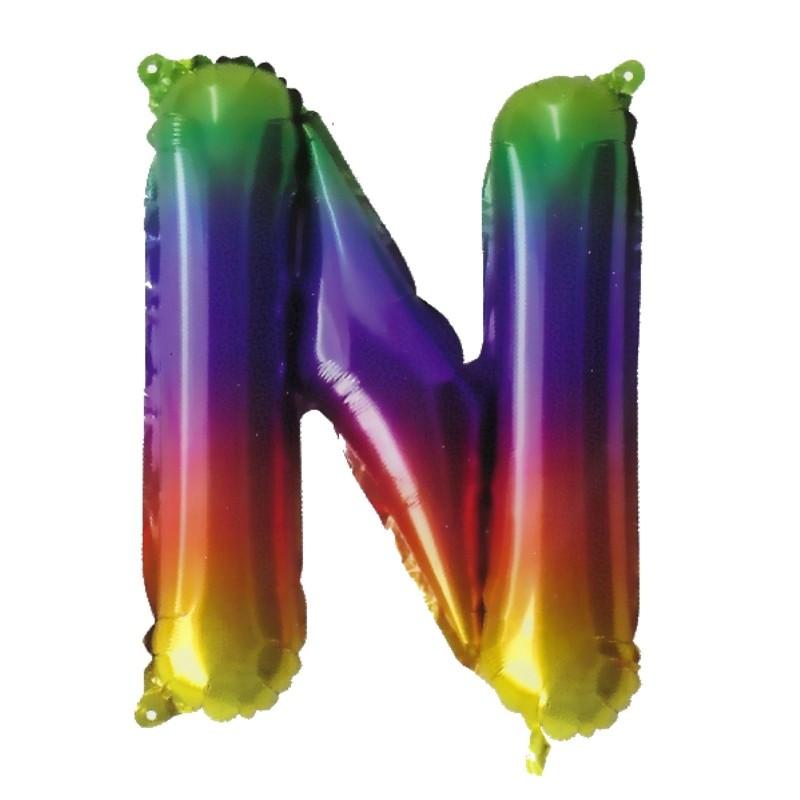 Rainbow Letter N Balloon 35cm