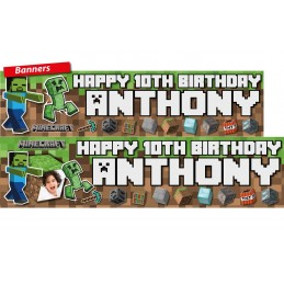 Minecraft Birthday Party Personalised Banner