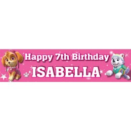 Paw Patrol Girl Birthday Party Personalised Banner