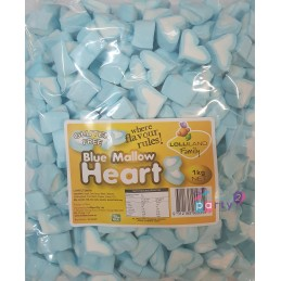 Blue & White Marshmallow Hearts (1kg)