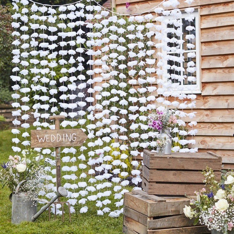 White Flowers Floral Backdrop