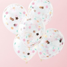 Floral Tea Party Confetti Balloons (Pack of 5) | Floral Tea Party Party Supplies