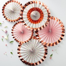 Floral Tea Party Rose Gold Paper Fan Decorations (Set of 5)