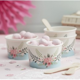 Floral Kitchen Tea Party Ice Cream Tubs (Pack of 8) | Floral Tea Party Party Supplies