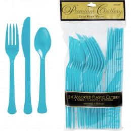 Bermuda Blue Plastic Cutlery (Pack of 24)