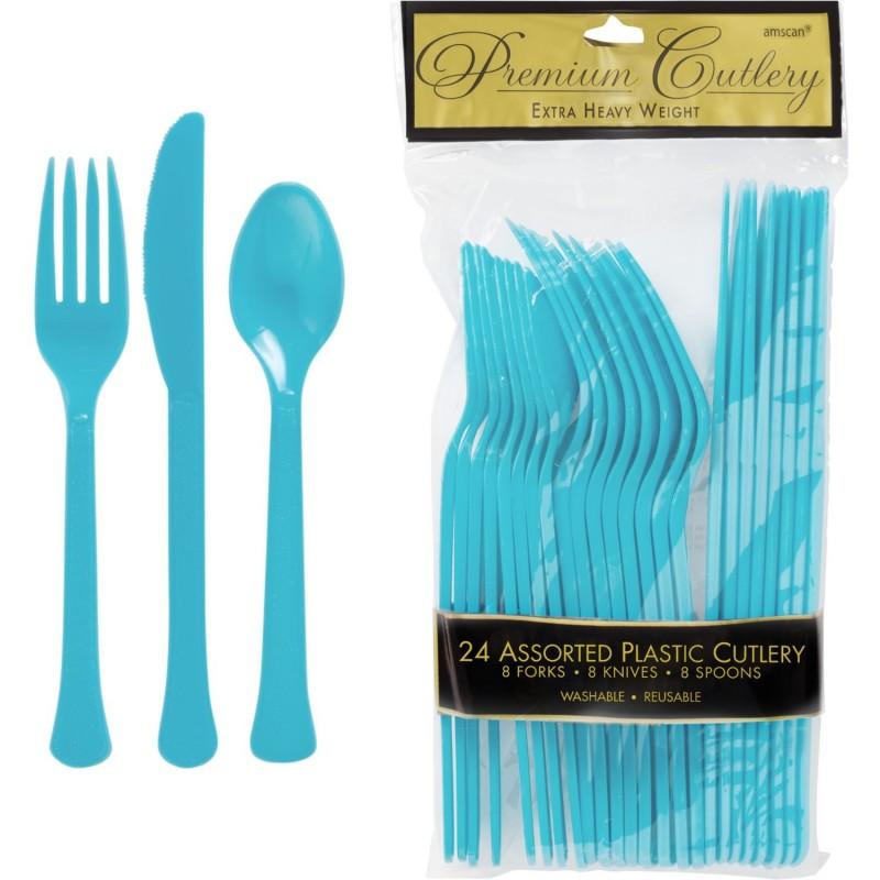 Bermuda Blue Plastic Cutlery (Pack of 24)