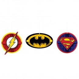 Justice League Honeycomb Decorations (Set of 3) | Justice League Party Supplies