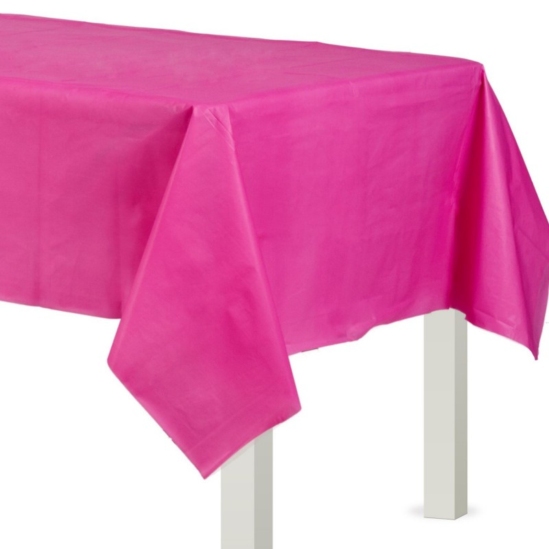 Bright Pink Plastic Tablecloth