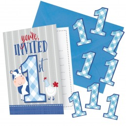 Blue Farmhouse 1st Birthday Invitations Set (Pack of 8) | Blue Farm 1st Birthday Party Supplies