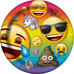 Emoji Rainbow Large Paper Plates (Pack of 8)