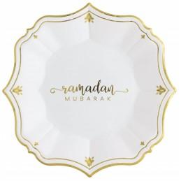Ramadan Mubarak White Dessert Paper Plates (Pack of 8)
