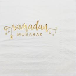 Ramadan Mubarak White Large Napkins (Pack of 16)
