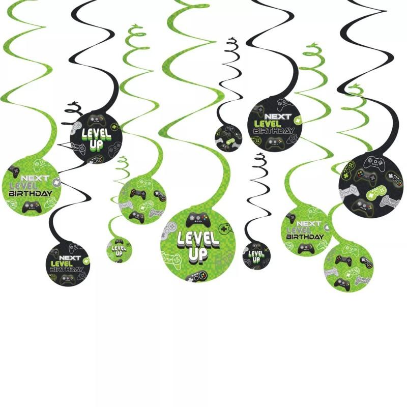 Level Up Gaming Hanging Swirls (Set of 12)