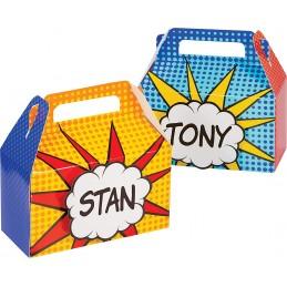 Superhero Party Boxes & Nametags (Set of 4)