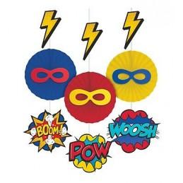 Superhero Hanging Fan Decorations (Set of 3)