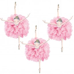 Pink & Gold Ballerina Hanging Pom Pom Decorations (Set of 3) | Pink & Gold First Birthday Party Supplies