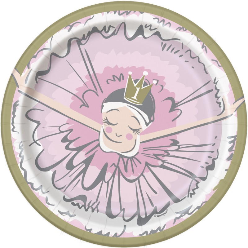 Ballerina Pink & Gold 1st Birthday Small Plates (Pack of 8)