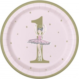 Ballerina Pink & Gold 1st Birthday Large Plates (Pack of 8)