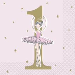 Ballerina Pink & Gold 1st Birthday Large Napkins (Pack of 16)