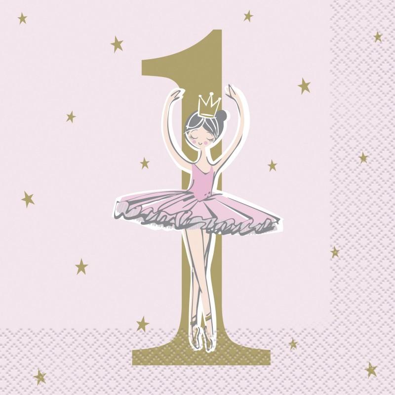 Ballerina Pink & Gold 1st Birthday Large Napkins (Pack of 16)