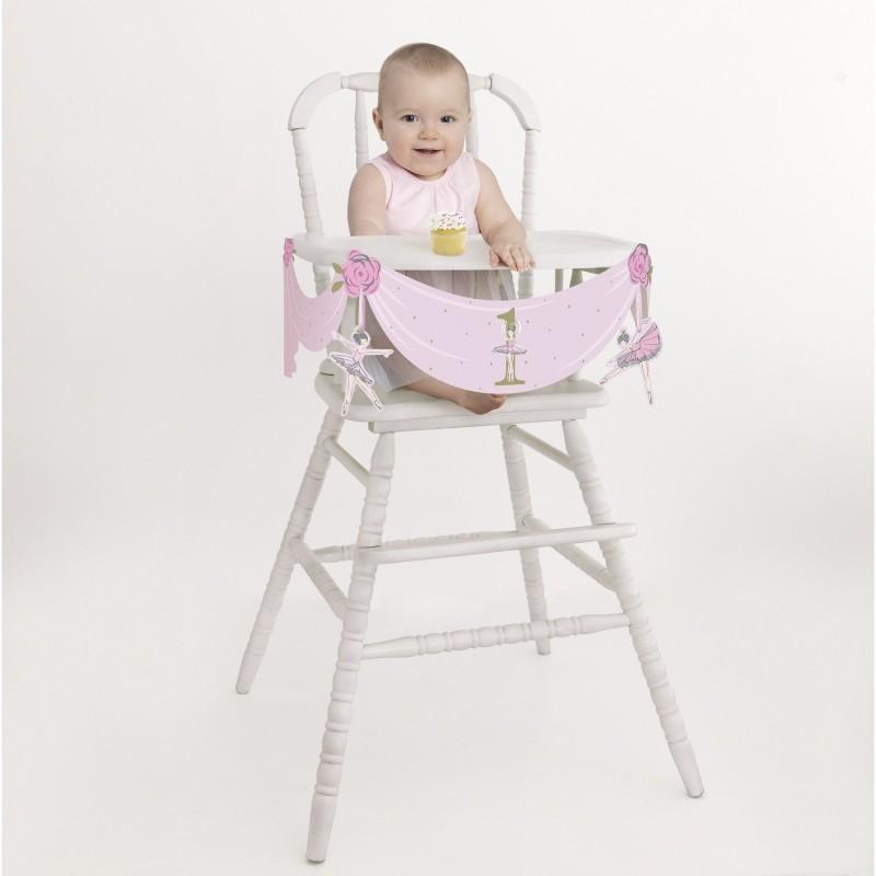 Ballerina Pink & Gold 1st Birthday High Chair Decoration