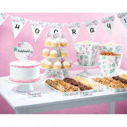 Floral Tea Party Buffet Table Decorating Kit (27 Pieces)