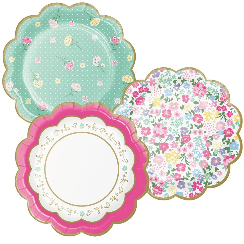 Floral Tea Party Small Scalloped Plates (Pack of 8)