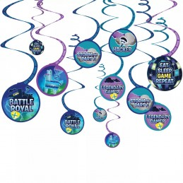 Battle Royal Fortnite Swirl Decorations (Set of 12)