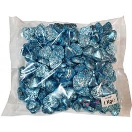 Blue Foiled Chocolate Hearts (1kg)