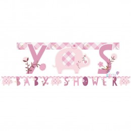 Pink Baby Elephant Baby Shower Banner