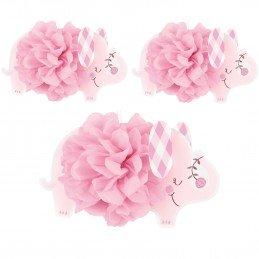 Pink Baby Elephant Pom Pom Decorations (Pack of 3)