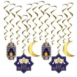 Eid Mubarak Swirl Decorations (Set of 12)