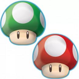 Super Mario Mushroom Shaped Small Plates (Pack of 8) | Super Mario Party Supplies