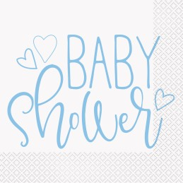Blue Hearts Baby Shower Large Napkins (Pack of 16)