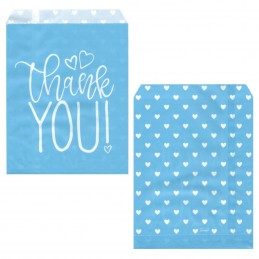 Blue Hearts Baby Shower Paper Treat Bags | Baby Boy Party Supplies
