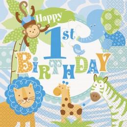 Blue Jungle Safari 1st Birthday Large Napkins (Pack of 20) | Boys Jungle 1st Birthday Party Supplies