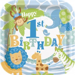 Blue Jungle Safari 1st Birthday Large Plates (Pack of 8) | Boys Jungle 1st Birthday Party Supplies