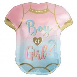 Gender Reveal Boy or Girl Bodysuit Foil Balloon | Gender Reveal Party Supplies