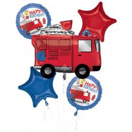 Fire Responders Birthday Foil Balloon Bouquet (5 Piece)