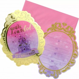 Glitter Disney Princess Party Invitations (Pack of 8) | Disney Princess Party Supplies