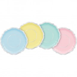 Pretty Pastels Small Scalloped Plates (Pack of 8) | Gender Reveal Party Supplies