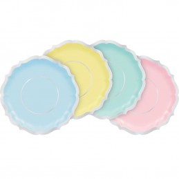 Pretty Pastels Large Scalloped Plates (Pack of 8) | Gender Reveal Party Supplies